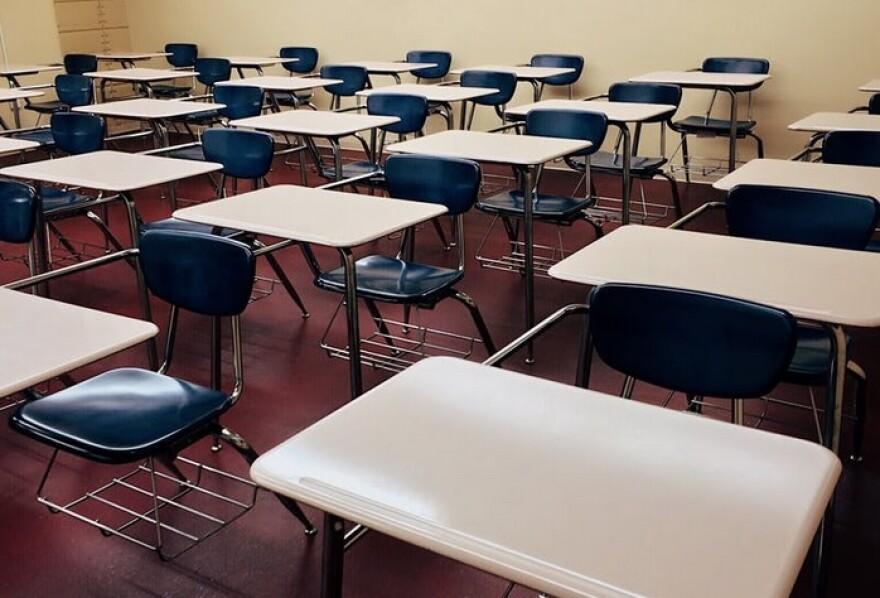 A classroom of empty desks