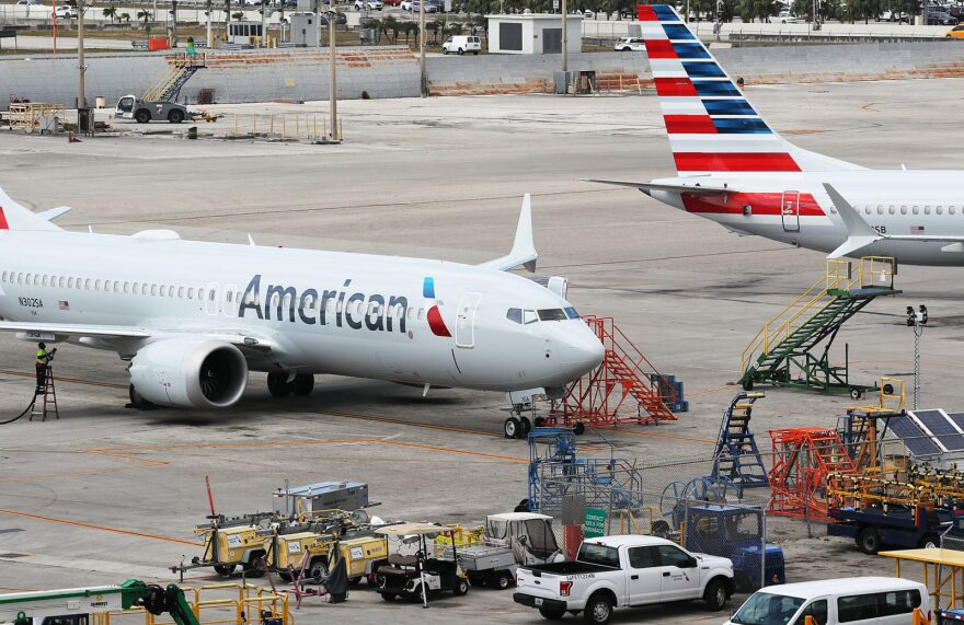 Two grounded American Airlines Boeing 737 Max 8 are seen parked in Miami, Florida.