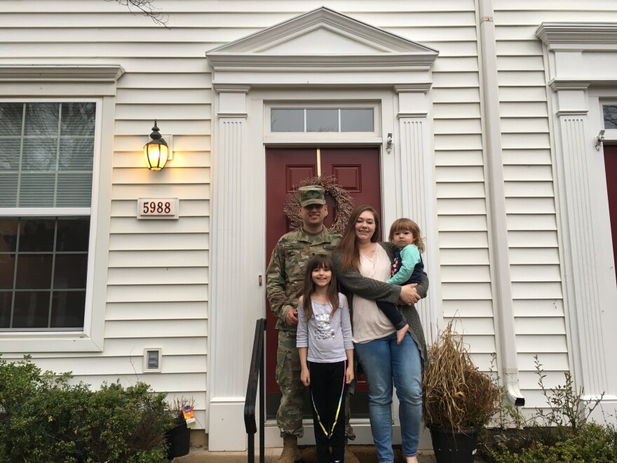Andrea Cacho and her family at their home at Fort Belvoir, Va.