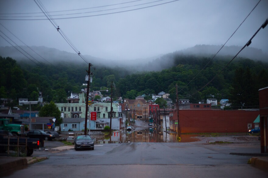 Downtown Richwood, WV, at dawn after hours of heavy rain flooded the little town.