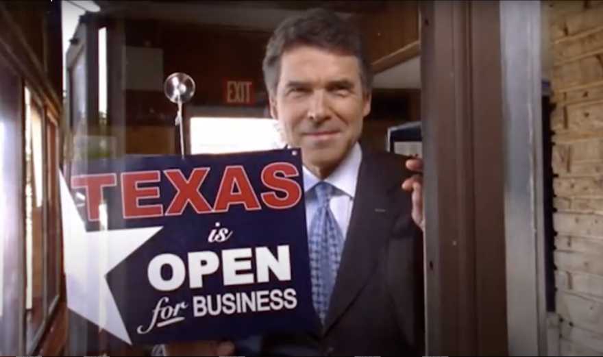 A screenshot from a 2010 Rick Perry re-election campaign ad.