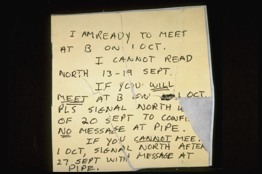 FBI agents found this note in Ames' trash in 1993; it refers to a meeting with his KGB contact in Bogotá, Colombia.