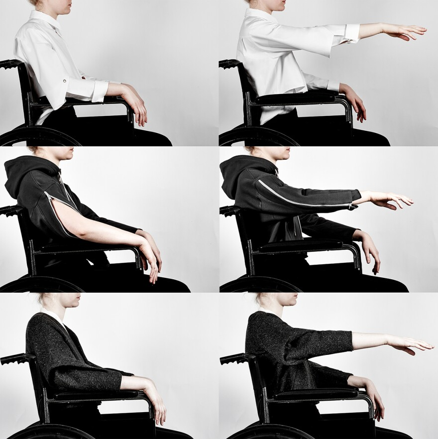 Parsons School of Design graduate Lucy Jones created Seated Design, a collection of clothing for people who use wheelchairs. The clothes include extra fabric at the elbows for greater mobility.