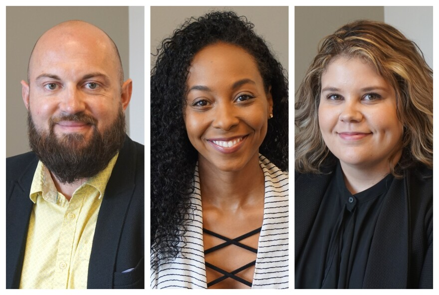 """(April 10, 2019) (L-R) Eric Goedereis, Kendra Elaine and Steph Kukuljan talked about the millennial generation, their experiences, misconceptions and how the generation's impacted the workforce on Thursday's """"St. Louis on the Air."""""""