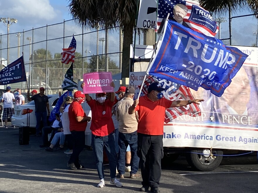 Trump supporters at the John F. Kennedy Library site in Hialeah.