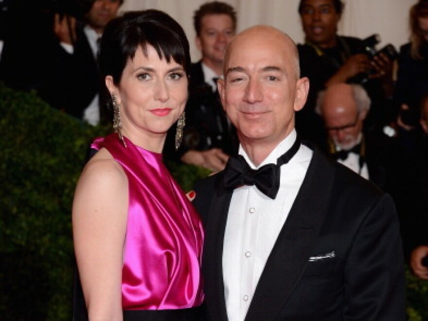 "Mackenzie Bezos and Jeff Bezos, founder and chief executive officer of Amazon.com attend the ""Schiaparelli And Prada: Impossible Conversations"" Costume Institute Gala at the Metropolitan Museum of Art."