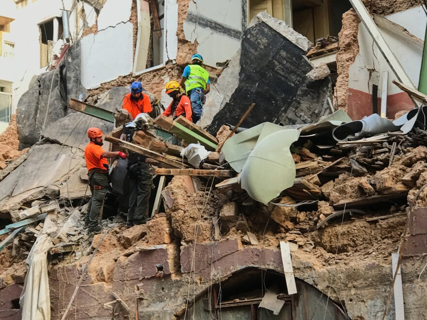 Rescue workers from a Chilean search team poured through the rubble of a collapsed building in the Beirut's Gemmayze neighborhood for three days in search of life. They ended the search late Saturday.