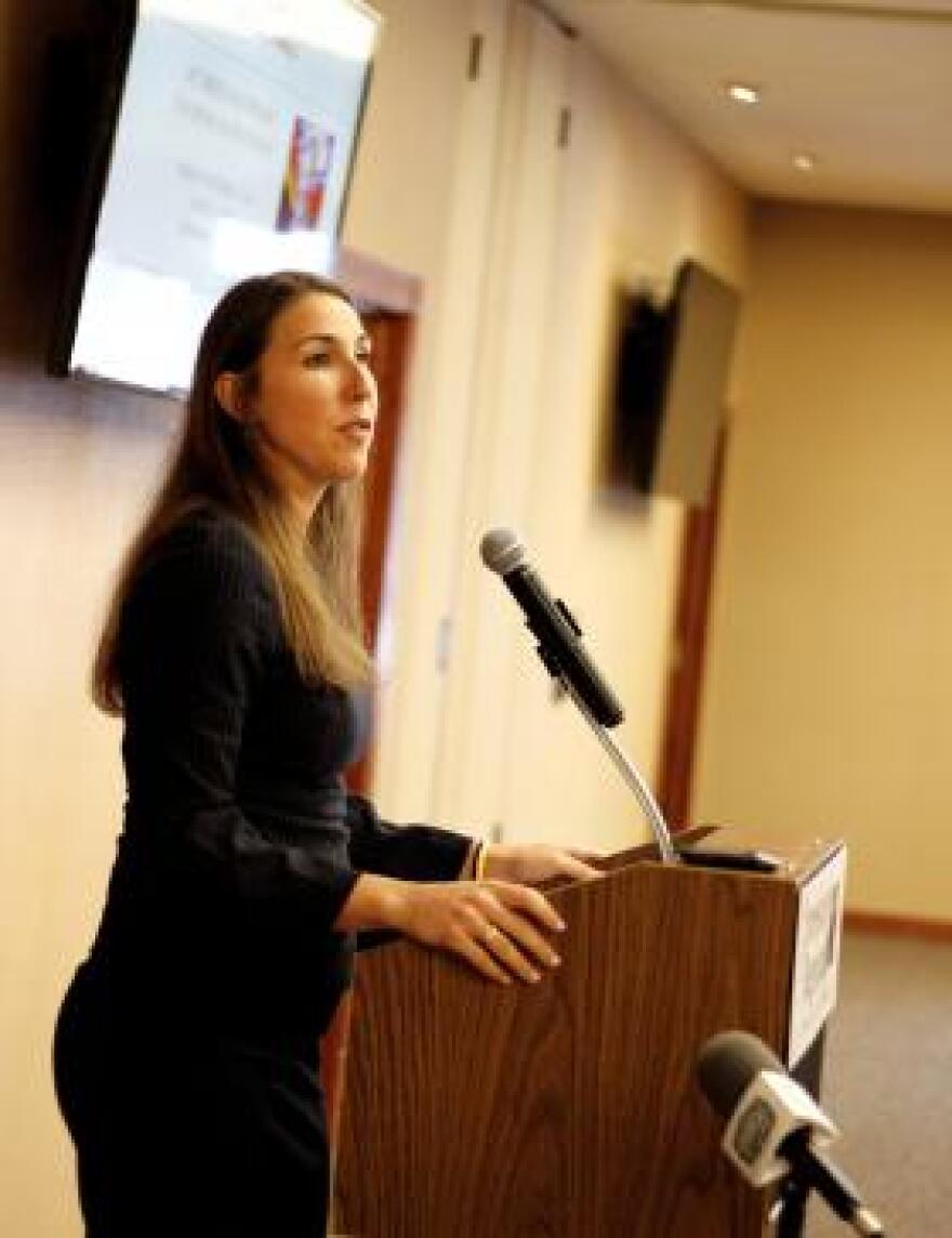 Jodiane Tritt with the Arkansas Hospital Association speaks in favor of Issue 1 at a Friday forum in Jonesboro.