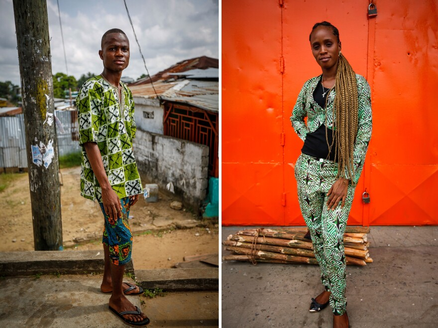 """Dao M. Fahnbulleh, 23 (left), wants to become a fashion designer. """"I feel so happy. I feel so cool. Anywhere I go, I will tell my friends, I interact with intelligent people because they look at me as intelligent person,"""" he says. Right: """"Fashion over food,"""" says Zoe Kiada, an unemployed 25-year-old."""