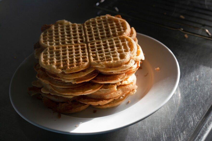 These waffles were made by Sander Bader, 19, in the observation post where he and other privates stay while they keep an eye on the Russian border activities.