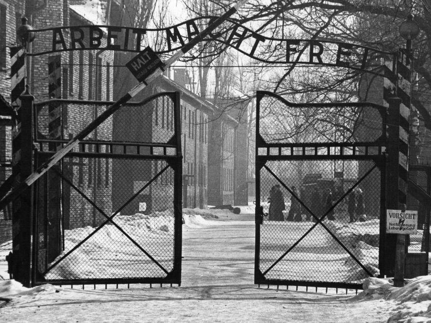 The gates of the Nazi concentration camp at Auschwitz, Poland. (1965 file photo.)