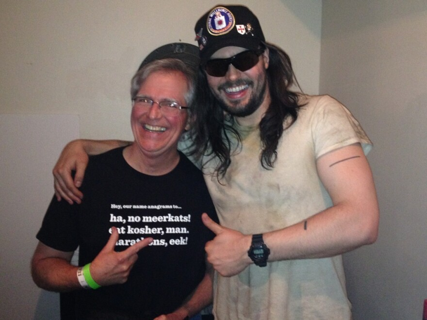 <em>Ask Me Another</em> winner Jim Naugle hangs out with Andrew W.K. backstage at Andrew's NYC show.