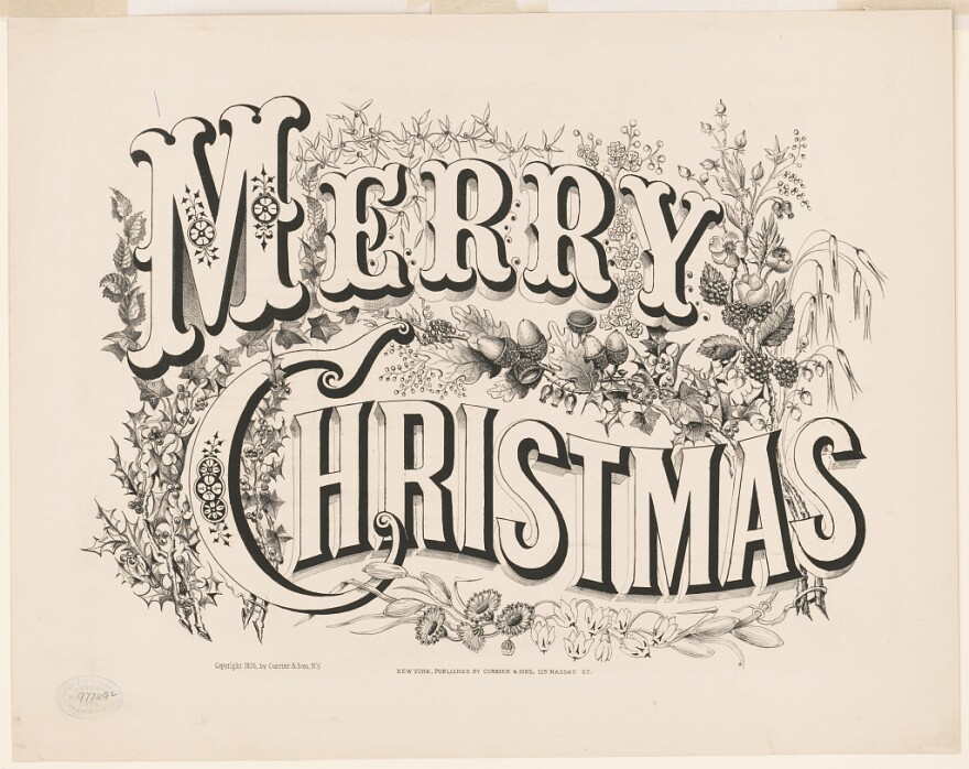 """A """"Merry Christmas"""" lithograph published by Currier & Ives in 1876."""