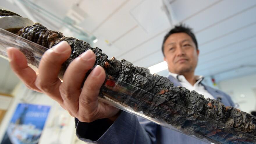 Shinichi Kuramoto of the Center for Deep Earth Exploration in Japan displays a replica of earthquake fault rock.