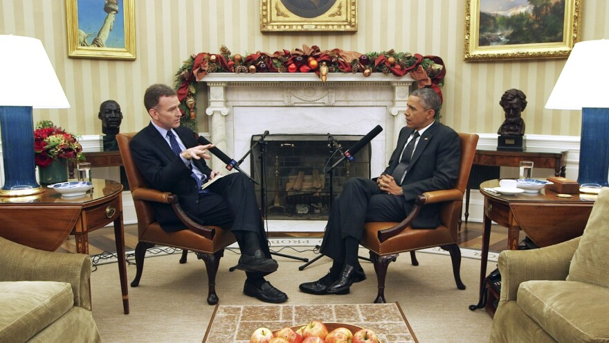 <em>Morning Edition</em> host Steve Inskeep interviews President Obama in the Oval Office.