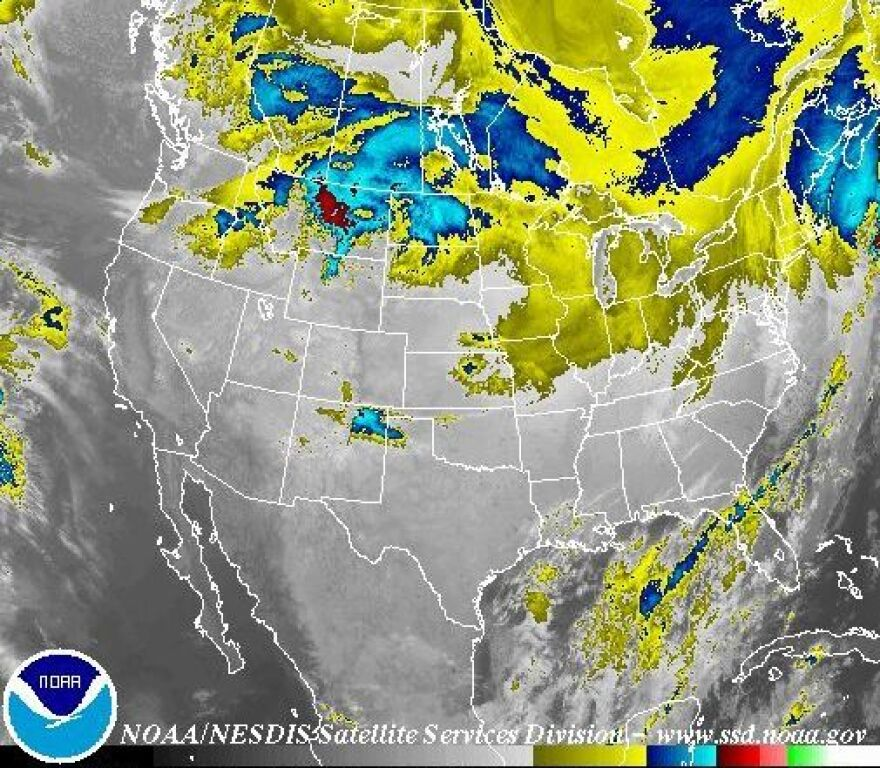 It's been a big storm: The worst may have passed, but an early Friday satellite image shows that bad weather still stretched across much of the nation.