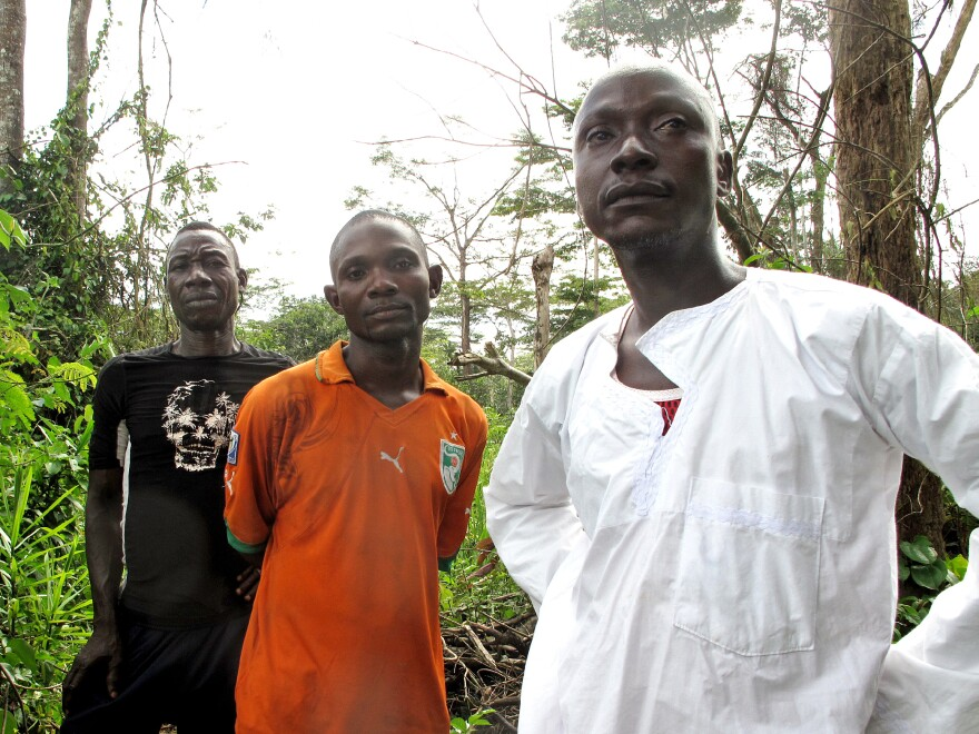 Thieu Patrice, Tan Benjamin and village chief Gueu Denis of Gahapleu, Ivory Coast, stand on the path to Liberia.