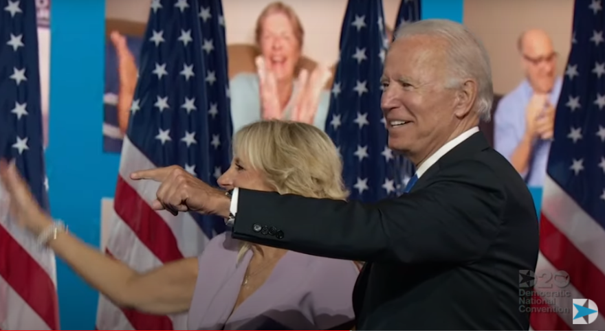 Joe and Jill Biden following the nominee's virtual convention address.