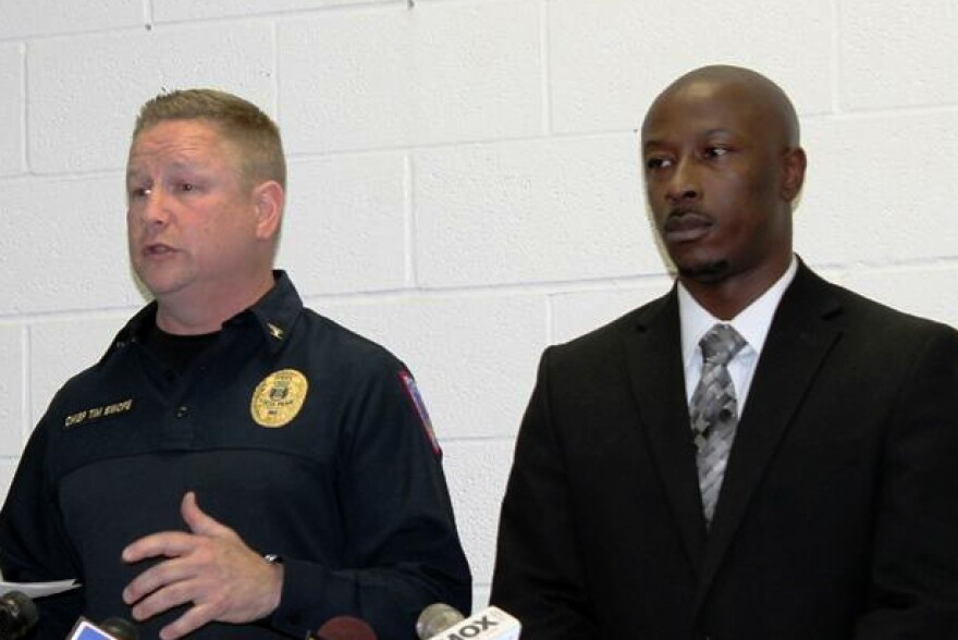 Chief Tim Swope (left) and Wellston mayor Nathaniel Griffin announce the formation of the North County Police Cooperative on June 2, 2015.