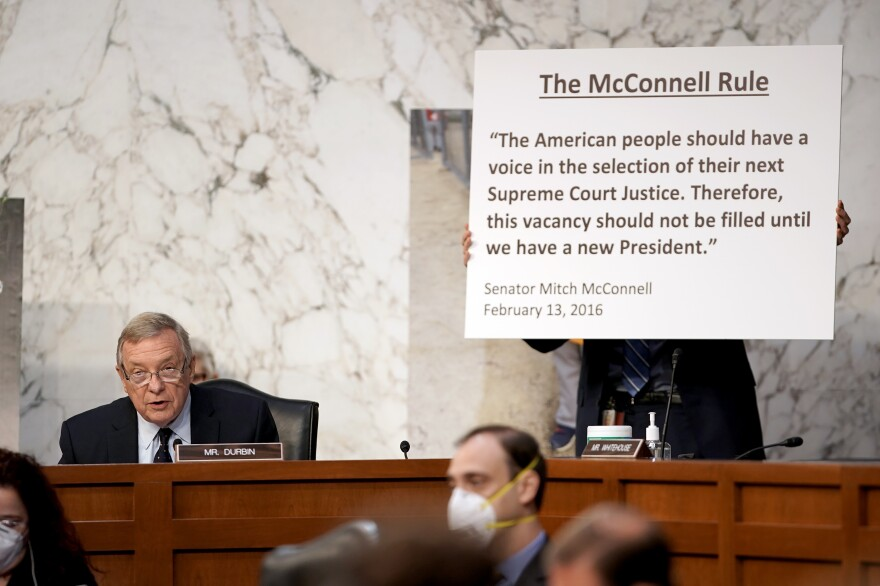 In his opening statement at Monday's hearing, Sen. Richard Durbin, D-Ill., refers to a quote from Senate Majority Leader Mitch McConnell, R-Ky., about President Barack Obama's attempt to confirm a new Supreme Court justice in 2016. At the time, McConnell argued the seat should not be filled until after the election.