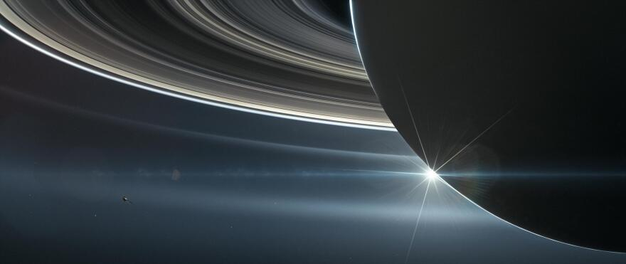 This illustration shows NASA's Cassini spacecraft in orbit around Saturn. Cassini made 22 orbits that swooped between the rings and the planet before ending its mission on Sept. 15, 2017, with a final plunge into Saturn.