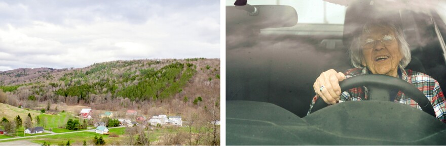Left: The Suicide Six ski area is located in South Pomfret, in the Upper Valley region of Vermont. Right: 96-year-old Sarah Foss regularly travels the area in her red Ford.