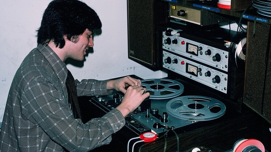 Jay Kernis edits tape for a story at NPR in the late 1970s. He left <em>Morning Edition</em> in 1985. Kernis is now a producer for CBS's <em>Sunday Morning.</em>