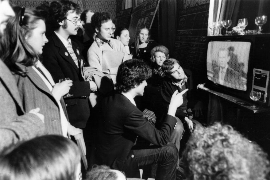 American supporters of the Democratic Party watch television and wait for the result of the 1976 presidential elections in which Jimmy Carter beat Gerald Ford.