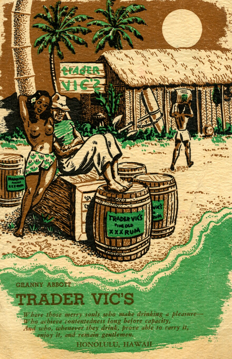 A menu for Trader Vic's from 1939. The lounge claims credit for having invented the well-known island-themed drink Mai Tai.
