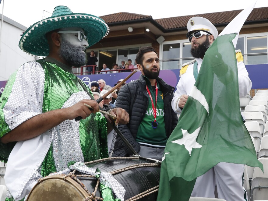Pakistan fans wait for the start of the Cricket World Cup match between Australia and Pakistan in Taunton, England, on Wednesday.