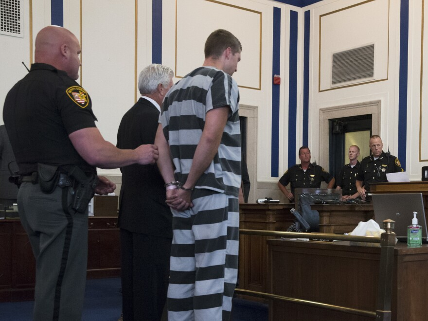 Ray Tensing, a former University of Cincinnati police officer, appears before Judge Megan Shanahan at Hamilton County Courthouse for his arraignment in the 2015 shooting death of motorist Samuel DuBose in Cincinnati. Tensing pleaded not guilty to charges of murder and voluntary manslaughter.