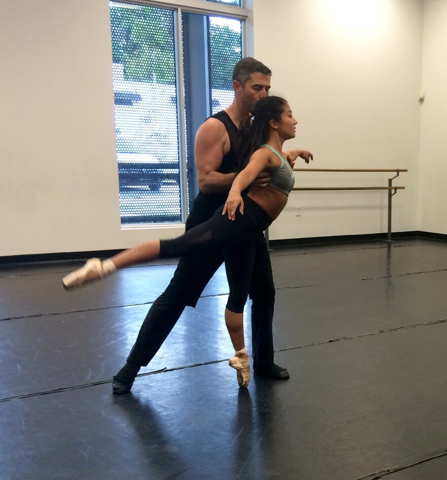 Allyn Ginns rehearses with Dance Now Miami co-director Diego Salterini, who dances the role of Death.