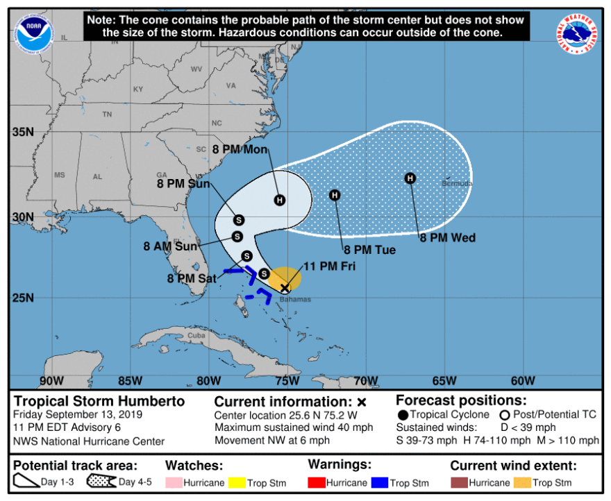 National Hurricane Center map showing Tropcal Storm Humberto is likely headed out to sea after affecting the already damaged Bahamas.