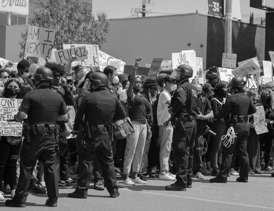 This photo was taken at a Black Lives Matter protest in Los Angeles on May 30. The BLM movement was founded by three black women, Patrisse Cullors, Alicia Garza and Opal Tometi.