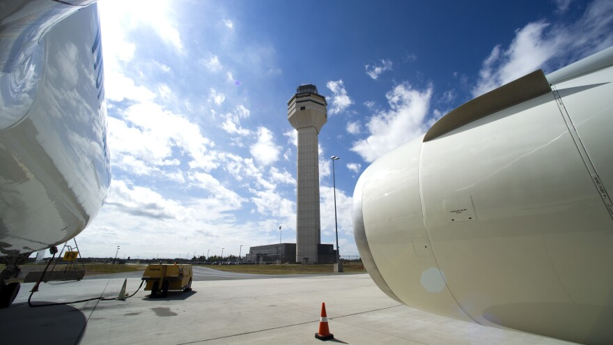 The Dulles International Airport Air Traffic Control tower.