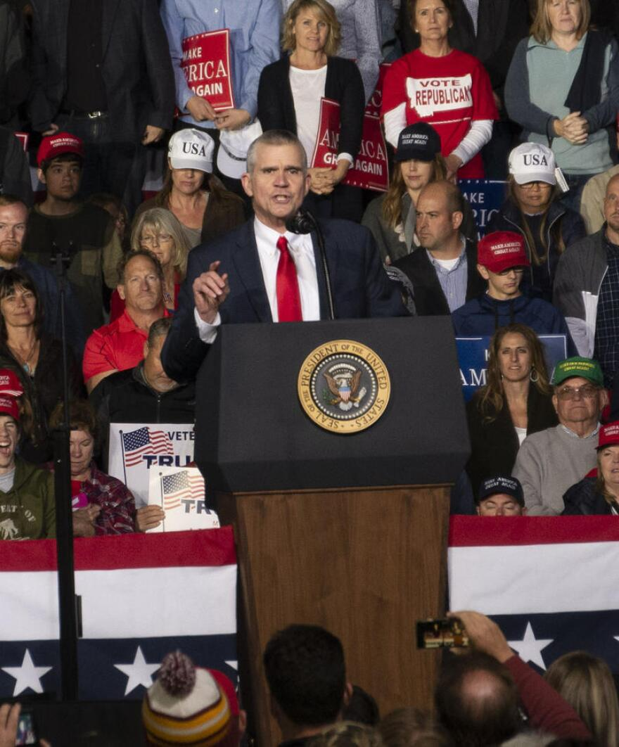 U.S. Senate candidate Matt Rosendale speaks during a campaign rally with President Trump in Missoula, MT, Oct. 18. 2018.