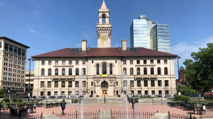 Worcester City Hall's plaza was refurbished in 2010 as part of a city beautification program.