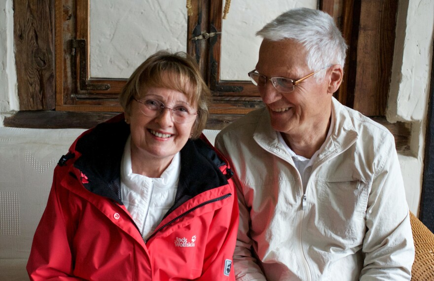 Retirees Ingrid and Wolfram Huebner spend at least one day a week at the shelter. They've befriended a Syrian-Kurdish family there.