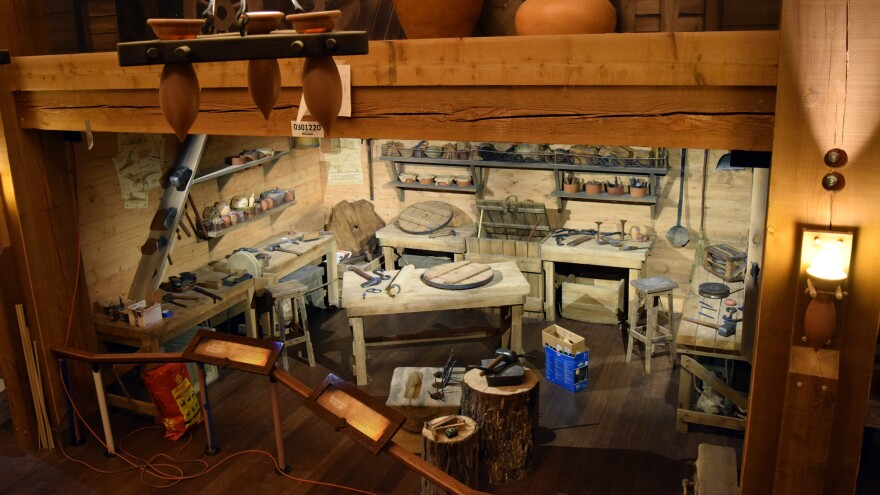 An exhibit showing an ancient workshop inside the Ark Encounter, a replica of Noah's Ark opening soon in northern Kentucky.