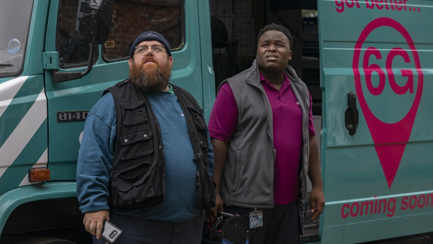 Broadband installers Gus (Nick Frost) and Elton (Samson Kayo) midnight as paranormal investigators in Amazon's <em>Truth Seekers.</em>