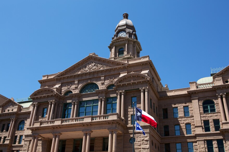 The exterior of the Tarrant County Courthouse.