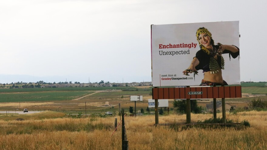 """As part of its rebranding effort, Greeley has adopted the slogan """"Greeley Unexpected,"""" appearing on a billboard on Highway 34 in Weld County, Colo."""