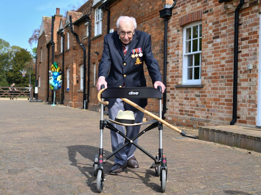 British World War II veteran Capt. Tom Moore raised more than $40 million for health care workers by walking laps in his garden in the weeks leading up to his hundredth birthday in April. He will be knighted in a private ceremony with Queen Elizabeth on Friday.