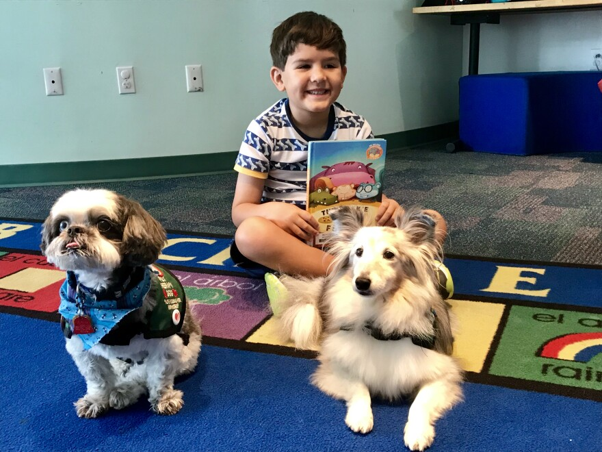 Logan Mcguire, 6, read to therapy dogs Zoe and Sydney on Saturday July 28.