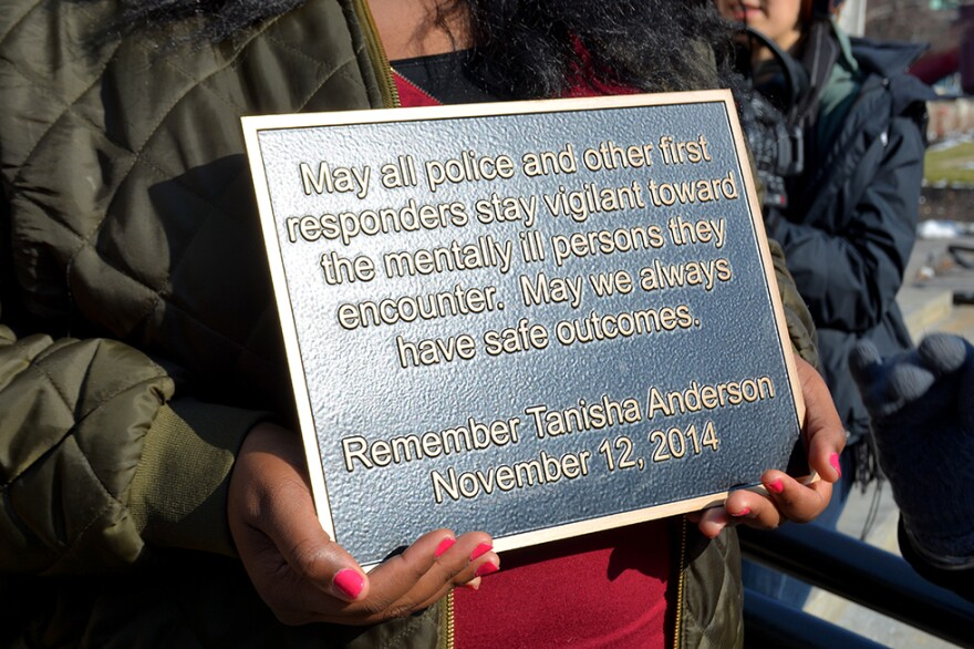 photo of plaque remembering Tanisha Anderson