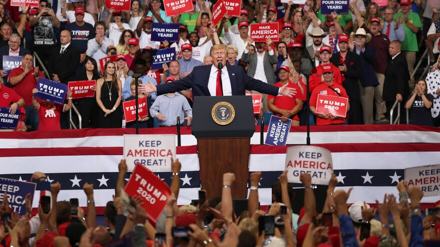 President Trump speaks Tuesday during a rally at the Amway Center in Orlando, Fla., where he announced his candidacy for a second presidential term. President Trump is set to run against a wide-open Democratic field of candidates, which he is trying to define as extreme.