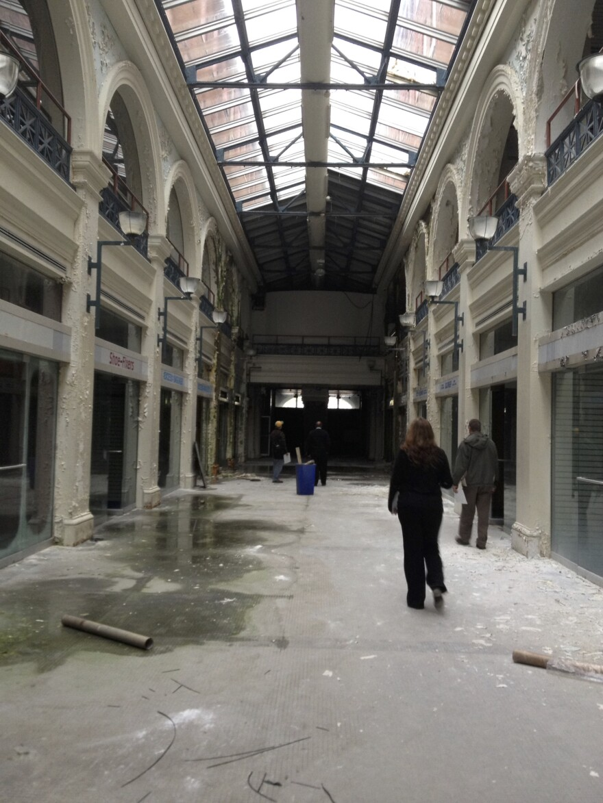 The interior of the Arcade during a tour by members of the Arcade task force.