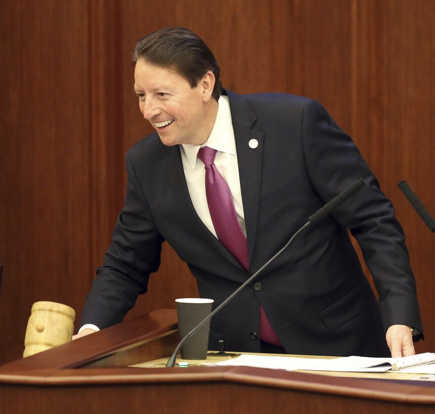 Senate president Bill Galvano, R-Bradenton, starts first day of legislative session in the senate Tuesday, March 5, 2019, in Tallahassee, Fla.