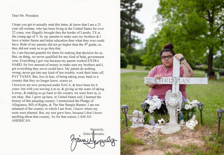 Zaira Gonzales poses for a portrait by the grave of her brother, Christian Gonzalez, in Palestine, Texas. Christian died in Falfurrias, Texas in September of 2012 while crossing illegally into the United States from Mexico.