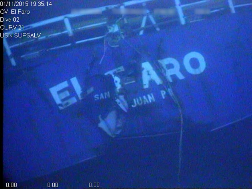 An undated image made from an NTSB video released April 26, 2016, shows the stern of the sunken ship El Faro.